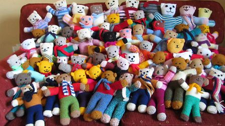 The Trauma Teddies knitted by the Earls Colne Womens' Institute