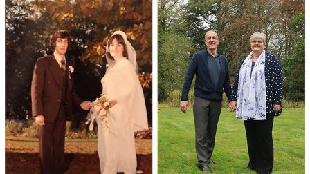 Then and now: Paula and Brian Burgess recreated their wedding day photographs on the same spot 40 ye