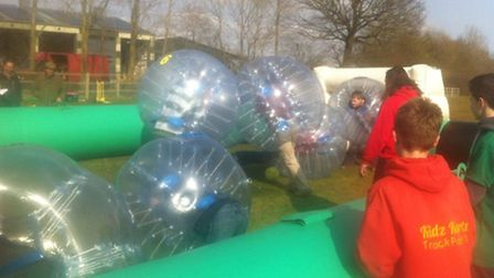 Bubble football at the Suffolk Young Farmers Rally.