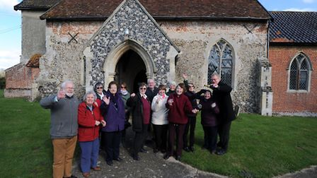 The village of Redlingfield celebrates £71,800 grant for the roof of St Andrews Church.