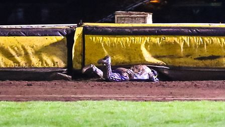 Cameron Heeps buried in the fence after a fall during heat fifteen of the Peterborough V Ipswich (Le