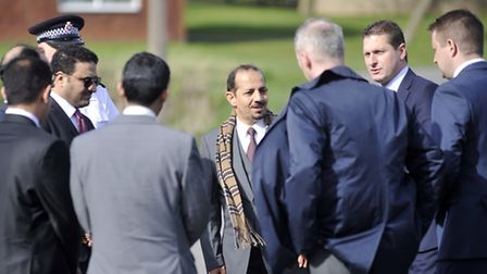 Essex Police escort a delegation from the Saudi embassy during a visit to Salary Brook in Greenstead