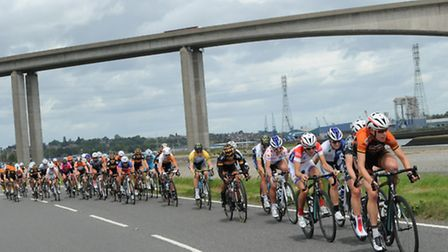 Stage Three of the Friends Life Women's Tour 2014 from Felixstowe to Clacton. The tour passes under