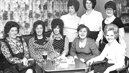 Can you add names to these drinkers at the Belstead Arms, Radcliff Drive, Ipswich in March 1974. The
