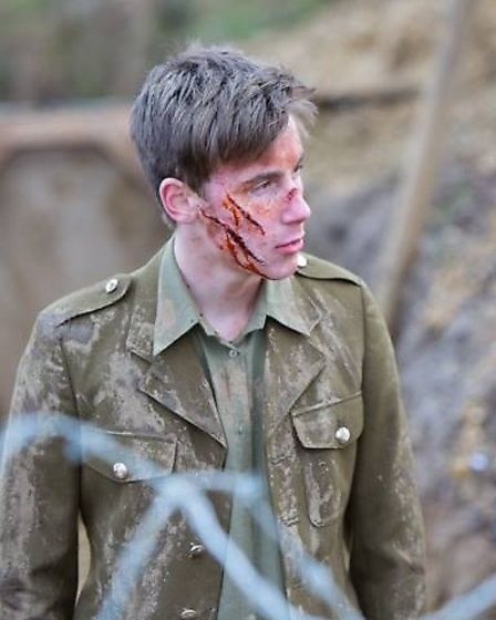 Charlie Crick on the set of The Trench
