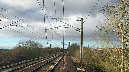 Damage to overhead wires between Diss and Stowmarket - photo courtesy of Greater Anglia