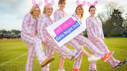 Vanessa Clark, Donna Cooper, Camille Berriman, Kelly Rought and Jenni Kuziw are in their pyjamas in
