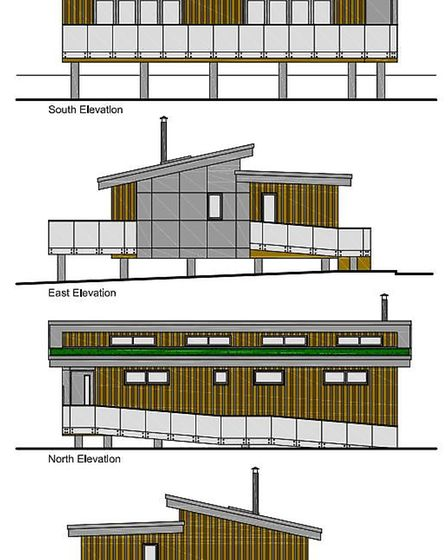 Architects impressions of the house of stilts planned for land backing on to the River Waveney in Fa