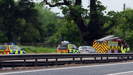Emergency services at the scene of the fatal crash near Rougham