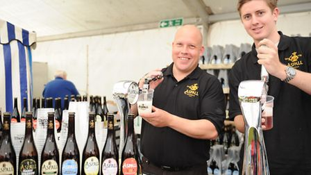 Suffolk show day 1 Inside the food hall John hadingham and tom brown of aspall