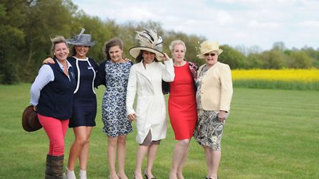 (l-r) Suffolk Show fashionistas Tory, Jenny, Abi, Kate, Nicola and Janet demonstrate their show atti