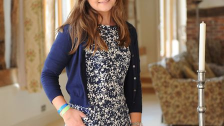 Abi Southworth in the Joules blue and white, cotton print dress which will be the Suffolk Show fashi