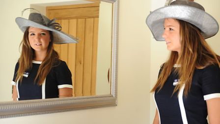 Jenny Binder in a navy and white linen Boden dress. The hat is from Suffolk Hat Company, Hadleigh