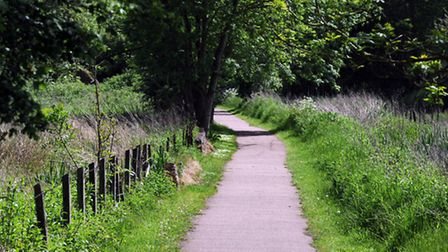 The footpath in Bury linking Cullum Road with Hardwick Lane.