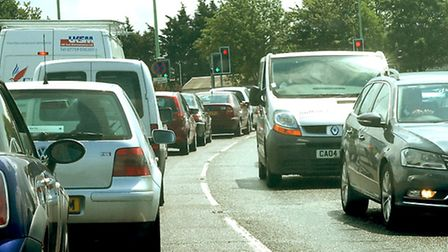 Traffic on the A14 westbound.