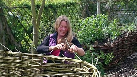 Gill King of Halesworth weaving the willow borders for her Compass Garden, which will feature at the