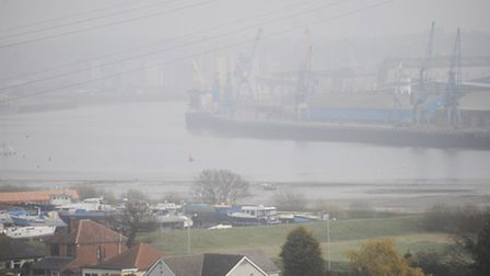 High levels of air pollution can be seen around Ipswich. Ipswich Docks.