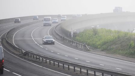 High levels of air pollution can be seen around Ipswich.
