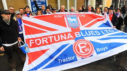Fortuna Dusseldrof fans, pictured before Ipswich Town's game against derby back in January. Photo: G