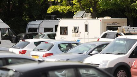 Travellers on St Andrew's long stay car park, Bury St Edmunds.