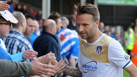 Karl Duguid following his final appearance for the U's, at Walsall at the end of the 2013-14 season