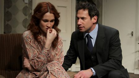 The Business of Murder by Richard Harris at the New Wolsey Theatre. Joanna Higson and Paul Opacic as