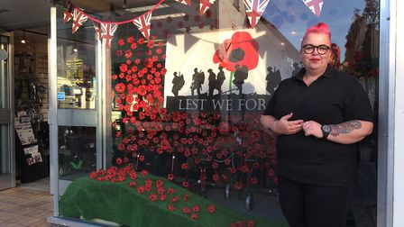 Rhona Knapp, manager of BeActive Mobility in Diss, has hand made more than 400 poppies for her shop