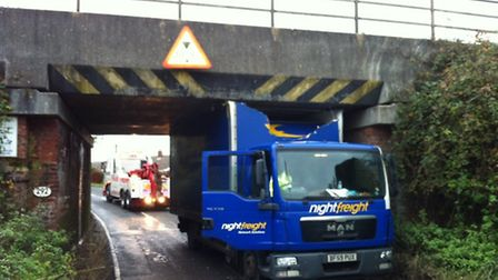 The railway bridge at Bacton where a lorry has become stuck. Picture shows a previous similar incide