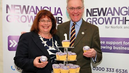 Sarah Howard, president of Suffolk Chamber of Commerce, and Mark Pendlington, chairman of New Anglia