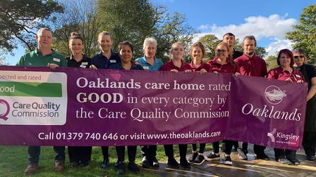 Oaklands staff celebrating the good CQC report. Picture: Kingsley Healthcare