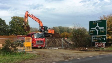 Entrance to the construction site of the new service area at the A140/A143 junction at Scole where w