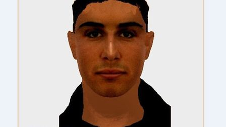 An e-fit image released by Suffolk police following a sexual assault in Bury St Edmunds.