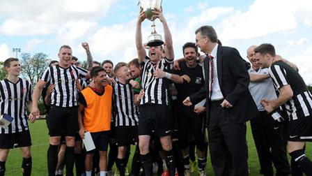 Long Melford celebrate winning the Thurlow Nunn First Division title.