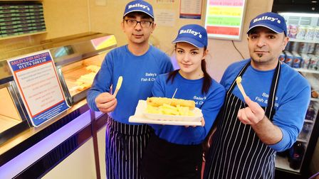 Cengiz Bolat, left, of Baileys Fsh and Chip shop in Diss, which gave away free Halloween meals and a
