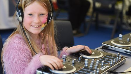 Harriet Gazeley tries her hand at DJ-ing in the skills discovery zone