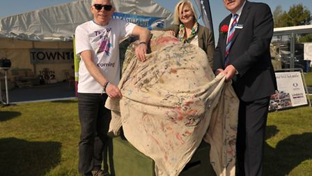 Unveiling of the pig for the Pigs Gone Wild campaign. L-R Norman Lloyd, Leigh Hemmings and show pre