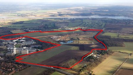 The area around Adastral Park at Maertlesham Heath which could be developed with 2,000 homes and oth