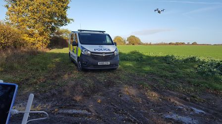 Police deployed a drone and five officers to pursue suspects after reports of hare coursing near Dis