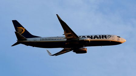 A Ryanair passenger plane after take off from Stansted Airport.