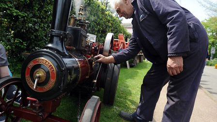 The open day at Bardwell Windmill. David Cobb with his 4+1/2 inch scale Burrell engine.
