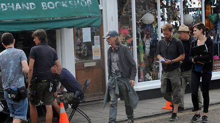 Filming for the new BBC comedy drama 'Detectorists' in Framilngham. Mackenzie Crook on the set.