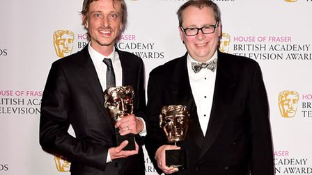 Mackenzie Crook (left) and Adam Tandy with the Scripted Comedy Award for Detectorists at the House o