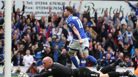 Paul Anderson of Ipswich Town celebrates scoring his sides equalising goal during the Sky Bet Champi