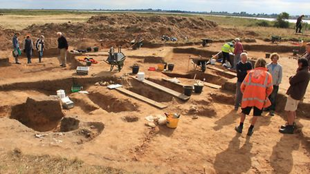 Archaeological excavations under way in 2013 at Barbers Point, on Suffolk Wildlife Trusts Hazlewoo