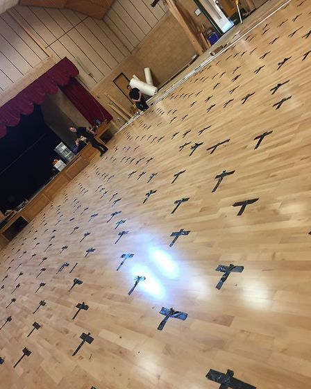 Work to replace the wooden floor at Banham Community Centre following damage caused when they had a