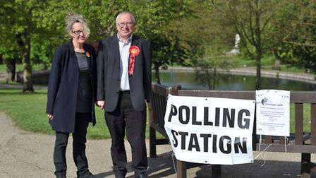 Polling station at the Reg Driver Centre in Christchurch Park. Cllr David Ellesmere with his partner