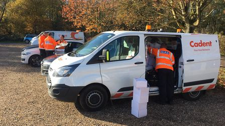 Gas supply workers from Cadent loading up with emergency heaters to take to vulnerable people after