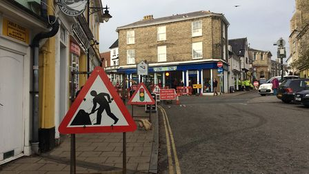 Market Hill is closed for electrical repair works in Diss. PHOTO: Sophie Smith