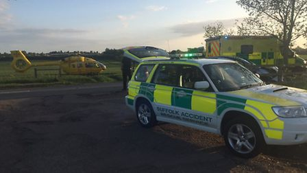 Crash on the A1088 at Elmswell on May 16 2015. Picture: Ben Hall