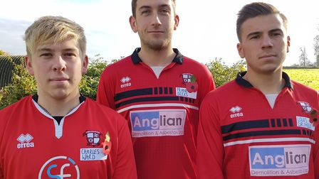 Long Stratton FC players will be wearing the names of Firdst World War soldiers. From left Wayne Bem
